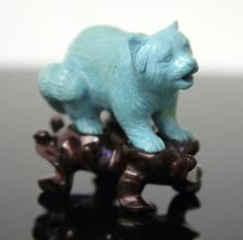 PERSIAN TURQUOISE CARVED CHINESE SNUFF BOTTLE