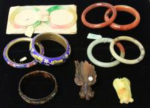 LOT OF (11) CHINESE BRACELETS & CARVINGS