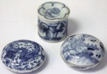 LOT OF (3) CHINESE BLUE AND WHITE PORCELAIN BOXES