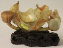 CHINESE CARVED LOTUS LEAF FLOWER WITH STAND