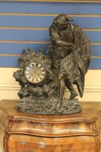 FRENCH FIGURAL CAST METAL CLOCK,19TH CENTURY