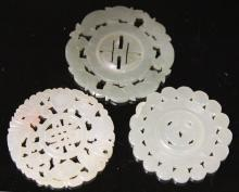 LOT OF (3) CHINESE PIERCED JADE CARVINGS