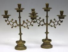 PAIR OF BRASS 19TH CENTURY CANDELABRAS