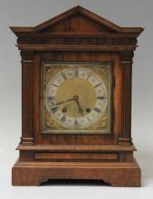 GERMAN WALNUT TABLE CLOCK, LENZKIRCH
