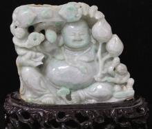 VINTAGE CHINESE CARVED JADE BUDDHA