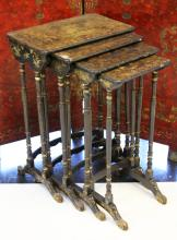 SET OF (4) JAPANNED LACQUERED NESTING TABLES