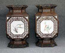 PAIR OF CHINESE WOOD AND GLASS LANTERNS