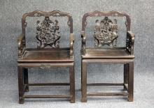 LOT OF (2) CHINESE CARVED WOOD ARMCHAIRS