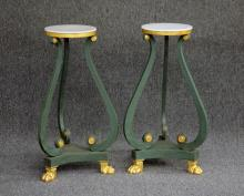 PAIR OF CLASSICAL PAINTED MARBLE TOP SIDE TABLES