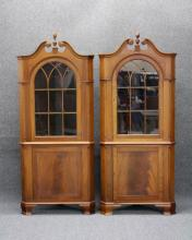 LOT OF (2) CHIPPENDALE STYLE CORNER CABINETS