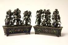 PAIR OF SILVER ENAMELED FLOWER PLANTERS