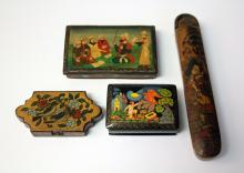 LOT OF (4) VINTAGE RUSSIAN LACQUERED BOXES
