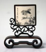 VINTAGE CHINESE CARVED BONE PLAQUE WITH WOOD STAND