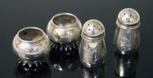 (2) PAIRS OF CHINESE SILVER SALTS, VINTAGE