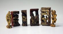 LOT OF (6) CHINESE CARVED ALTAR PIECES