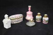 LOT OF (6) CONTINENTAL PORCELAIN VANITY ITEMS