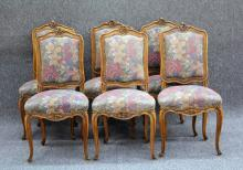SET OF (6) FRENCH PROVINCIAL STYLE DINING CHAIRS