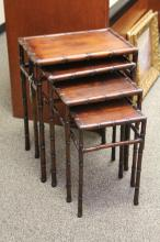 SET OF (4) ROSEWOOD CHINESE CARVED NESTING TABLES