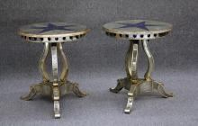 PAIR OF STAR MIRROR TABLES