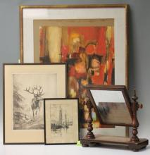 LOT (5) OF ASSORTED WORKS OF ART, MIRROR