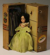 VINTAGE DOLL TRUCK WITH CLOTHING AND DOLL
