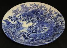 CHINESE SIGNED BLUE AND WHITE PORCELAIN CHARGER