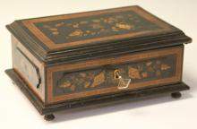 VICTORIAN INLAID LETTER BOX WITH KEY