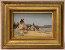 EARLY 20TH CENTURY WATERCOLOR, AMERICAN INDIANS