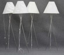 SET OF (4) CHROME FINISH METAL FLOOR LAMPS