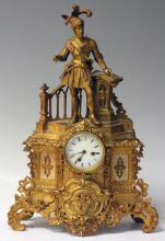 FRENCH 19TH CENTURY GILT METAL MANTLE CLOCK