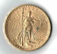 1910 TWENTY DOLLAR SAINT GAUDENS GOLD COIN