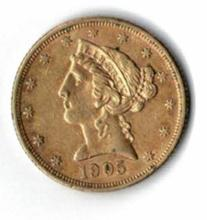 1905 FIVE DOLLAR LIBERTY GOLD COIN