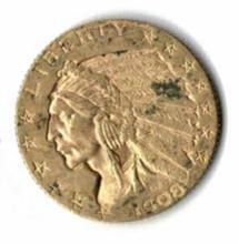 1908 FIVE DOLLAR INDIAN HEAD GOLD COIN