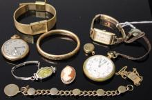 LOT OF (10) PCS. OF VINTAGE WATCHES, JEWELRY