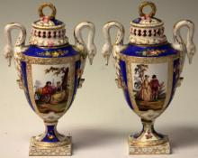 LOT OF (3) FRENCH PAINTED URNS, PAIR & SINGLE