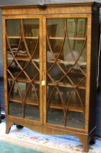 VICTORIAN CARVED MAHOGANY DOUBLE DOOR BOOKCASE