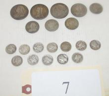 8 pcs of mostly foreign silver & 12 Mercury dimes
