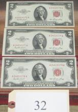 3 consecutive numbered $2 US notes
