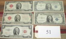 3 red seal 1953 $2 bills & 2 silver certificates
