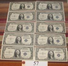 10 pristine mint 1935 silver certificates