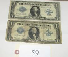 2 large 1923 silver certificates