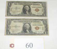 2 1935 Hawaii brown seal $1 silver certificates