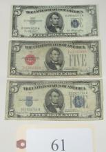 3 $5 bills