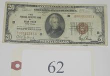 1929 Federal Reserve Bank of New York $20 note