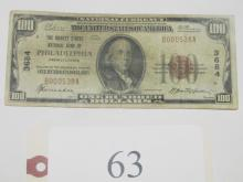 1929 $100 Market St National Bank of Phila Note
