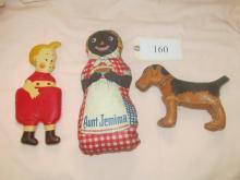 3 1930s oil cloth dolls