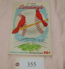 1957 St Louis Cardinals scorecard