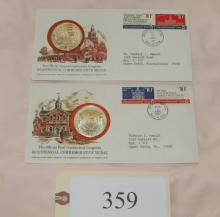 2 1970s silver Bicentennial medals with FDCs