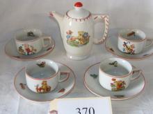 9 pc childs teddy bear tea set