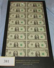 Framed sheet of 16 uncut federal reserve 1981 $1